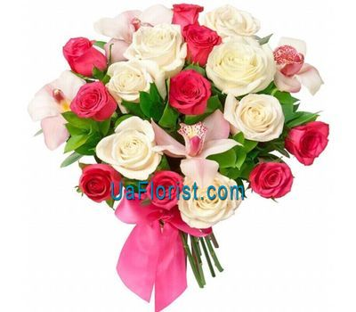 """Bouquet of flowers from 17 roses and 4 orchids"" in the online flower shop uaflorist.com"