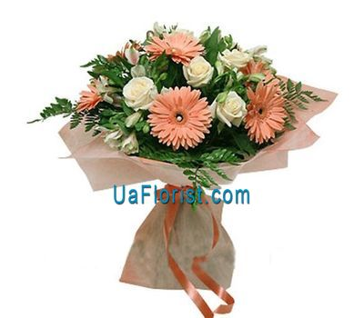 """Bouquet of 7 gerberas, 7 roses and 5 alstroemerias"" in the online flower shop uaflorist.com"