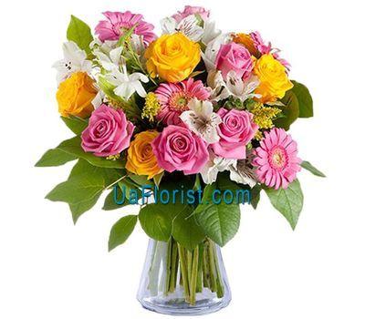 """Bouquet of 10 roses, 5 gerberas and 4 alstroemerias"" in the online flower shop uaflorist.com"