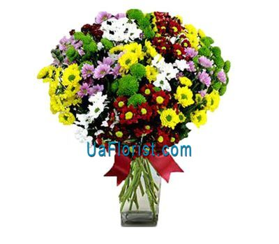 """""""Bouquet of 17 colorful chrysanthemums"""" in the online flower shop uaflorist.com"""