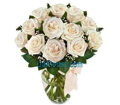 """13 white roses"" in the online flower shop uaflorist.com"
