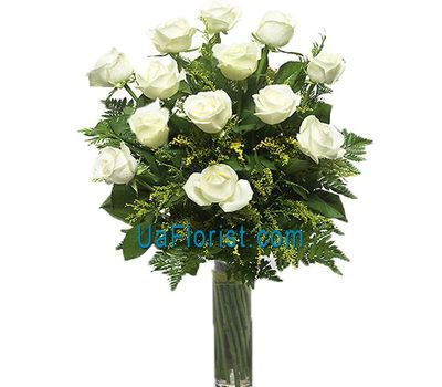 """17 white roses with greens"" in the online flower shop uaflorist.com"