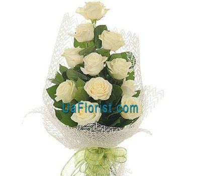 """11 white roses with perfection"" in the online flower shop uaflorist.com"