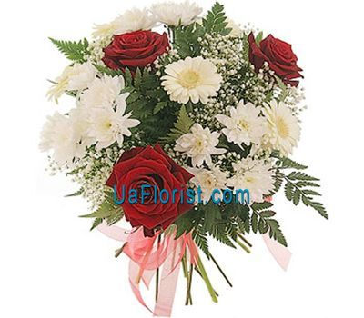 """Bouquet of 3 roses, 3 chrysanthemums and 3 gerberas"" in the online flower shop uaflorist.com"