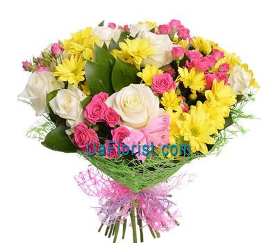 """A bunch of flowers of 14 roses, 5 chrysanthemums"" in the online flower shop uaflorist.com"