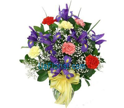 """""""A bunch of 7 irises and 6 carnations"""" in the online flower shop uaflorist.com"""
