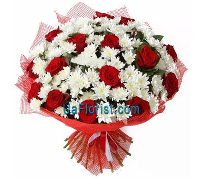 """Bouquet of 15 roses and 12 chrysanthemums"" in the online flower shop uaflorist.com"