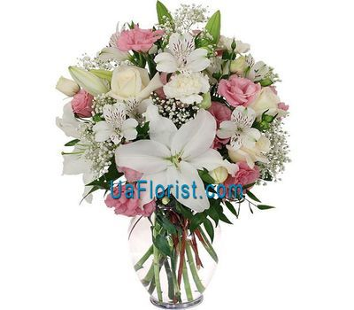 """Bouquet of 5 roses, 1 lily, 16 cloves and 5 alstroemerias"" in the online flower shop uaflorist.com"
