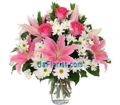 """""""Букет из 6 хризантем, 3 роз и 2 лилии"""" в интернет-магазине цветов uaflorist.com"""