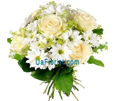 """Bouquet of flowers from 5 roses and 6 chrysanthemums"" in the online flower shop uaflorist.com"