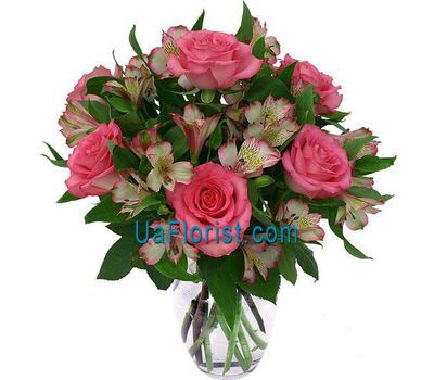 """Bouquet of 7 roses and 8 alstroemeriums"" in the online flower shop uaflorist.com"
