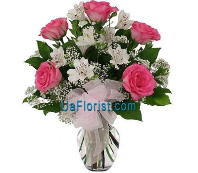"""""""A bunch of flowers of 5 roses and 4 alstroemerias"""" in the online flower shop uaflorist.com"""