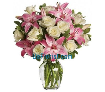 """Bouquet of 13 roses and 2 lilies"" in the online flower shop uaflorist.com"