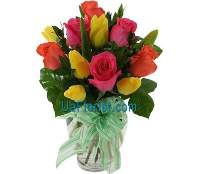 """A bouquet of 11 flowers:roses and tulips"" in the online flower shop uaflorist.com"