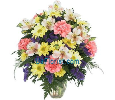 """A bunch of flowers of 4 chrysanthemums, 5 alstroemerias and 6 cloves"" in the online flower shop uaflorist.com"