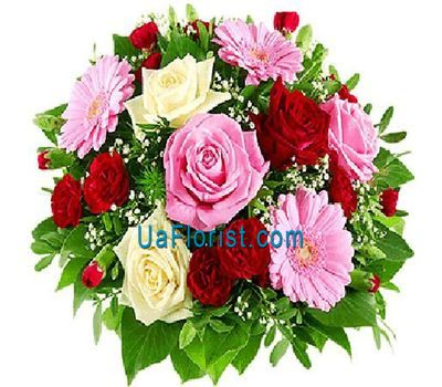 """A bunch of flowers of 3 gerberas, 9 roses and 7 carnations"" in the online flower shop uaflorist.com"
