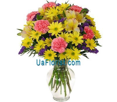 """Bouquet of 7 chrysanthemums, 5 alstroemerias and 7 cloves"" in the online flower shop uaflorist.com"