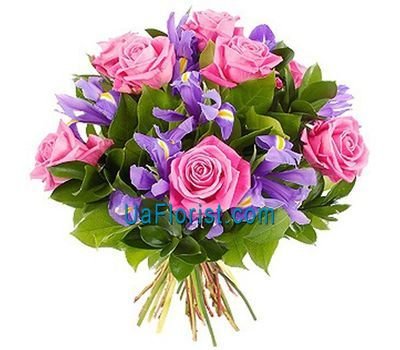 """Bouquet of 12 irises and 7 pink roses"" in the online flower shop uaflorist.com"