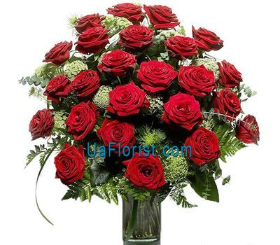 """25 roses with greens"" in the online flower shop uaflorist.com"