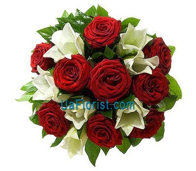 """Bouquet of 9 roses and 3 lilies"" in the online flower shop uaflorist.com"