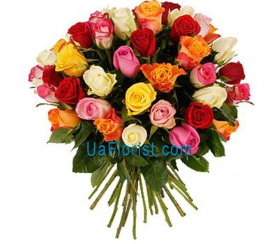 """35 multicolored roses"" in the online flower shop uaflorist.com"