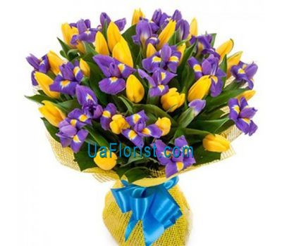"""Bouquet of 26 tulips and 19 irises"" in the online flower shop uaflorist.com"