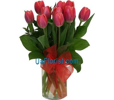 """A bouquet of 11 red tulips"" in the online flower shop uaflorist.com"