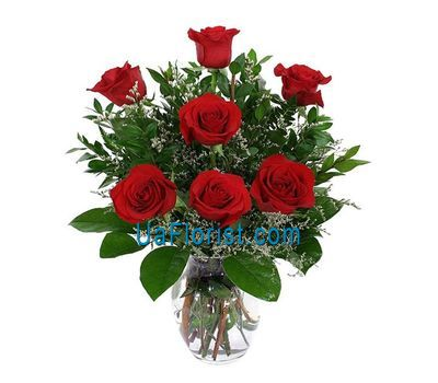 """7 red roses with greens"" in the online flower shop uaflorist.com"