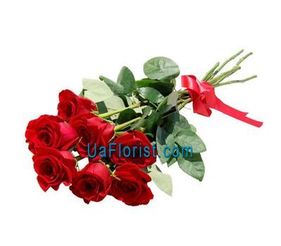 """7 red roses with a ribbon"" in the online flower shop uaflorist.com"