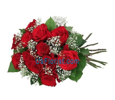 """13 roses with gypsophila"" in the online flower shop uaflorist.com"