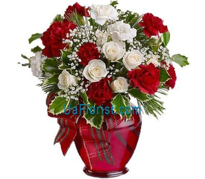 """Bouquet of roses and carnations New Year"" in the online flower shop uaflorist.com"