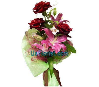 """3 roses and lilies"" in the online flower shop uaflorist.com"