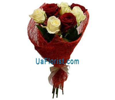 """7 red and white roses"" in the online flower shop uaflorist.com"