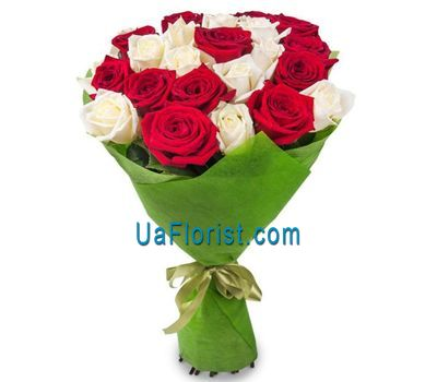 """23 white and red roses"" in the online flower shop uaflorist.com"