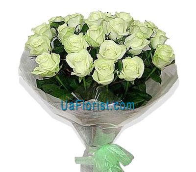 """Bouquet of 25 white roses decorated"" in the online flower shop uaflorist.com"