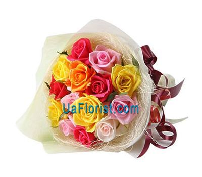 """15 multicolored roses"" in the online flower shop uaflorist.com"