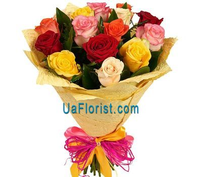 """17 multicolored roses"" in the online flower shop uaflorist.com"