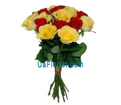 """13 red and yellow roses"" in the online flower shop uaflorist.com"