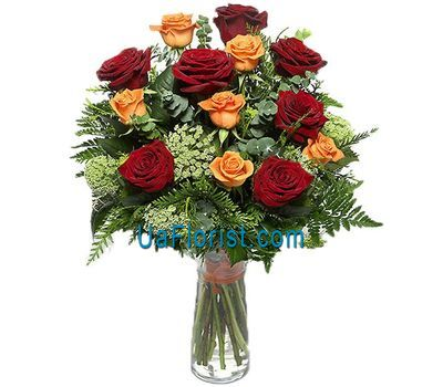 """11 multicolored roses with greens"" in the online flower shop uaflorist.com"