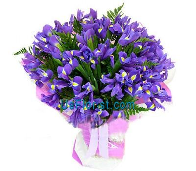 """A bunch of 35 blue irises"" in the online flower shop uaflorist.com"