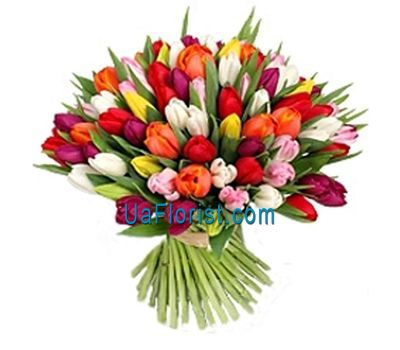 """A bouquet of 101 multicolored tulips"" in the online flower shop uaflorist.com"