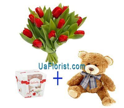"""""""15 тюльпанов, мишка и конфеты"""" в интернет-магазине цветов uaflorist.com"""