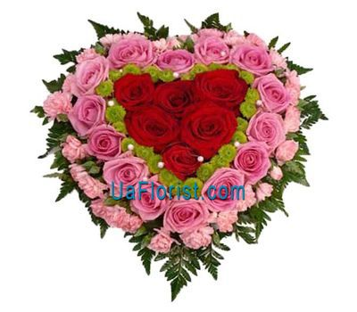 """Heart of 19 roses, 27 cloves and 3 chrysanthemums"" in the online flower shop uaflorist.com"