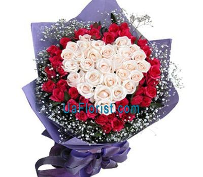 """Bouquet of 28 white and 43 red roses"" in the online flower shop uaflorist.com"