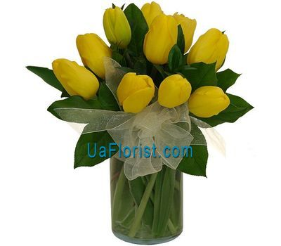 """A bouquet of 13 yellow tulips"" in the online flower shop uaflorist.com"