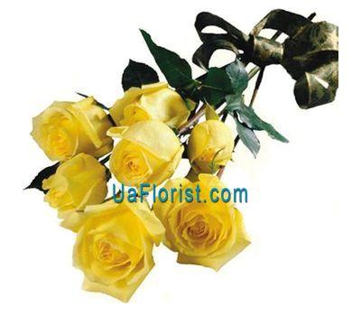 """""""7 жовтих троянд зі стрічкою"""" в интернет-магазине цветов uaflorist.com"""