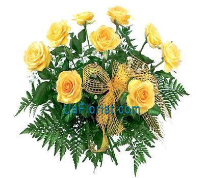 """""""9 yellow roses with greenery"""" in the online flower shop uaflorist.com"""