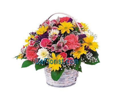 """Basket of 4 alstroemerias, 4 cloves, 7 roses, 7 gerberas"" in the online flower shop uaflorist.com"