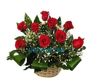 """Basket of flowers from 11 roses"" in the online flower shop uaflorist.com"