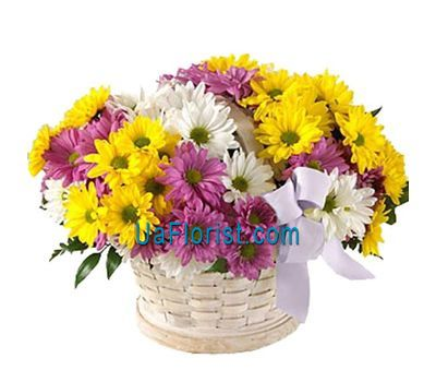 """Basket of flowers from 11 chrysanthemums"" in the online flower shop uaflorist.com"